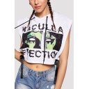 Girls Cool Street Fashion Figure Eyes Letter Printed Bow-Tied Side Sleeveless Cropped Hooded White Tank