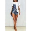 New Popular Floral Printed Patchwork Round Neck Short Sleeve Casual Cotton T-Shirt