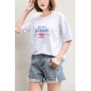 Summer Unique Number 88 Letter Printed Cotton Loose T-Shirt