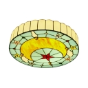 Kids Bedroom Flush Mount Light Star Moon Stained Glass Tiffany Style Ceiling Light