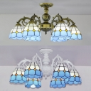 Aged Brass/White Cone Semi Flush Light 6 Lights Antique Style Stained Glass Ceiling Lamp for Hotel