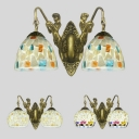 2 Lights Globe Wall Light Antique Glass Shell Sconce Lamp with Mermaid for Dining Room