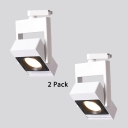 (2 Pack)Slim Square LED Track Lighting 1 Head Commercial Black/White Ceiling Lamp in White/Warm White for Gallery