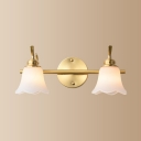 Frosted Glass Flower Sconce Light Mirror Bathroom 2/3 Lights Modern Style Wall Light in Brass