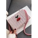 Summer Fashion Cherry Pattern Straw Crossbody Beach Bag 18*5*11 CM
