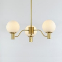 White Globe Shade Chandelier 3/6/8 Lights Simple Style Frosted Glass & Metal Suspension Light for Hallway