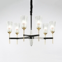 Clear Prismatic Glass Chandelier Bedroom Hotel 6/8 Lights Traditional Pendant Light in Black
