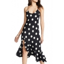 Women's New Classical Polka Dot Print V-Neck Sleeveless Midi Black Asymmetric Hem Dress