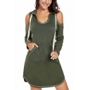 Women's Hot Fashion Cut Out Long Sleeve Plain Print Midi Hooded Dress Whit Pockets
