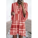 Women's Summer Geometric Printed V-Neck Long Sleeve Mini Swing Dress