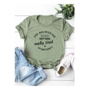 SHE BELIEVED SHE COULD Simple Letter Print Short Sleeve Cotton Loose Tee
