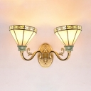 2 Lights Conical Sconce Wall Light Tiffany Style Antique Wall Lamp for Living Room Bathroom