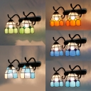 Tiffany Style Dome Wall Light Stained Glass 2 Lights Sconce Light for Living Room Bedroom
