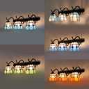 Stained Glass Dome Wall Light Living Room Bedroom 3 Lights Tiffany Style Sconce Light