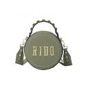 New Fashion Letter Rivet Embellishment Top Handle Round Crossbody Bag 18*8*18 CM