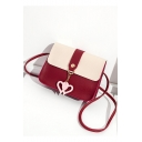 Popular Color Block Heart Rivet Embellishment Long Strap Crossbody Purse 17*5*13 CM