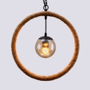 Round Dining Room Pendant Lighting Metal and Rope Single Light Industrial Hanging Light