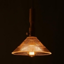 Single Light Cone Pendant Lighting Vintage Glass Pendant Light Fixture for Living Room
