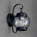 Black Lantern/Pillar Wall Lamp Single Light Vintage Metal Wall Light Fixture for Outdoor