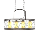 Metal Drum Island Lighting 4 Lights Industrial Island Ceiling Light in Black for Living Room