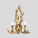 Deer Horn Living Room Sconce Wall Light Metal 2 Lights Rustic Style Wall Lamp in Brass