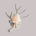 Rustic Style White Sconce with Antlers Decoration and Tapered Shade Single Light Resin Wall Light
