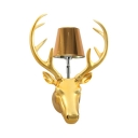 Gold/Silver Deer Decoration Sconce Single Light Antique Style Resin Wall Lamp for Office Foyer