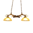 Antique Style Domed Shade Hanging Light Resin and Glass 2 Lights Brown Chandelier with Antlers Decoration