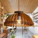 Single Light Domed Shape Ceiling Light Foyer Antique Style Bamboo Pendant Lighting in Beige