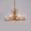 Vintage Style Gold Chandelier with Deer Horn Decoration 6 Lights Resin Hanging Light for Living Room