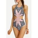 New Stylish Sunflower Striped Printed Halter Neck Cutout One Piece Swimsuit for Women