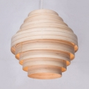 Rustic Style Beige Ceiling Light Single Light Wood Ceiling Fixture for Dining Room Living Room