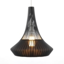 Vintage Style Cone Hanging Lamp Single Light Bamboo Black/Blue/Pink Hanging Pendant for Bedroom