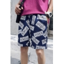 Stylish Allover Letter CHILLY Dollar Print Drawstring Waist Casual Loose Swim Shorts for Guys
