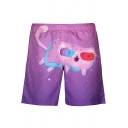 Lovely Cartoon Cat Printed Elastic Waist Mens Purple Swim Trunks with Liner