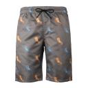 Cool Allover Seahorse Printed Men's Grey Drawstring Waist Beach Casual Swim Shorts