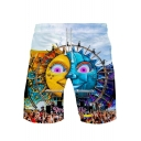 Tomorrowland Cool Printed Guys Summer Beach Drawstring Waist Swim Shorts