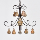 Metal and Wood Chandelier Dining Room Living Room Single Light American Vintage Hanging Lighting