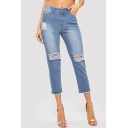 Womens Blue Fashion Destroyed Ripped Raw Edge Capri Jeans