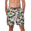 Trendy Allover Cactus Grey Camo Pattern Mens Loose Casual Beach Swim Shorts Board Shorts