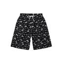 Fashion Allover Sea Gull Pattern Drawstring Waist Surfing Shorts Black Swim Trunks