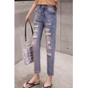 New Trendy Destroyed Ripped Vintage Washed Straight Fit Ankle Jeans for Women