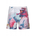 Men's Stylish Pattern White Loose Fit Beach Swim Trunks with Lining