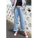 Womens Drawstring Waist Split Side Fringed Hem Straight Fit Wide-Leg Jeans