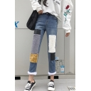 Womens New Stylish Fur Trim Patchwork Light Blue Regular Fit Jeans