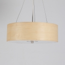 Bamboo Drum Shade Ceiling Fixture One Light Modern Style Pendant Lighting in Beige