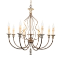 Bedroom Living Room Candle Chandelier Metal and Wood 8 Lights Hanging Lamp in White