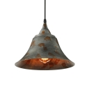 Green Bell Hanging Ceiling Light 1 Light Distressed Rustic Metal Pendant Lighting