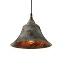Green Bell Hanging Ceiling Light 1 Light Distressed Rustic Metal Pendant Lighting