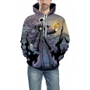 Halloween Jack Skull Printed Sport Loose Long Sleeve Pullover Hoodie